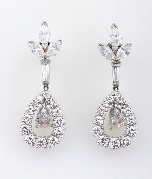 23: A Pair of Platinum and Diamond Earrings,