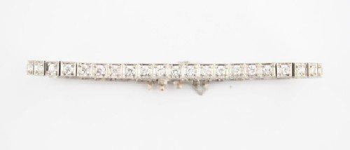 24: A Platinum and Diamond Line Bracelet,