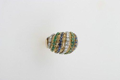 150: An 18 Karat Yellow Gold, Diamond, Emerald and Blue