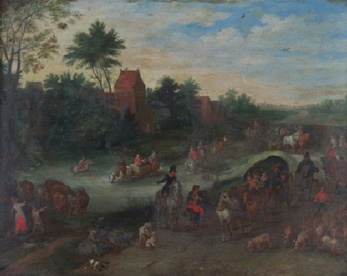 166: Flemish School, 17th century, Village Scene with P