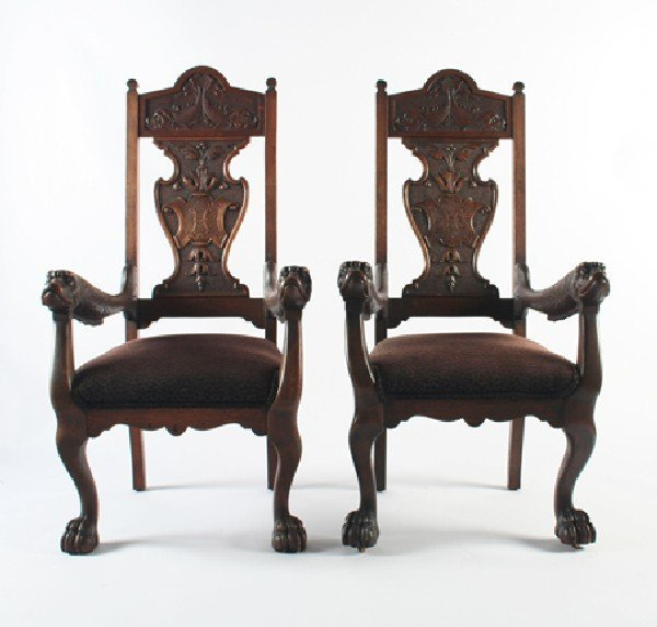 22: A Pair of French Mannerist Style Oak Armchairs, Hei
