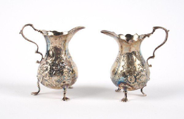 631: Two George II Silver Creamers, London, Height of t