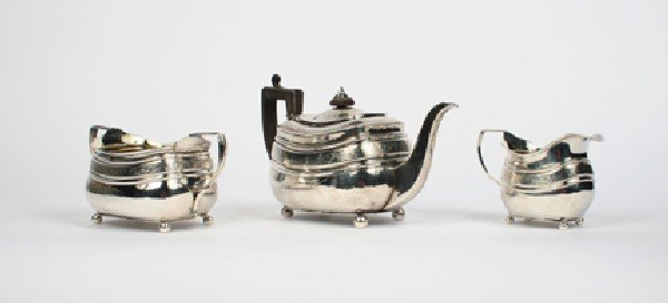 640: A George III Silver Three Piece Tea Service, Alice