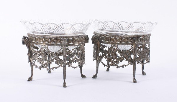 642: A Pair of Victorian Silver and Cut Glass Compotes,