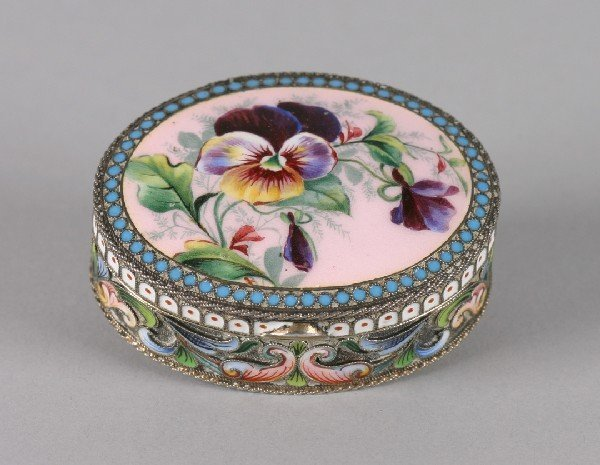 661: A Russian Silver and Enamel Snuff Box, Height 5/8