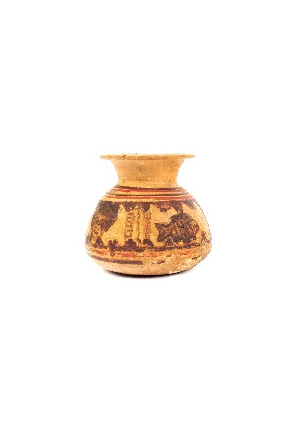 1046: A Coptic Pottery Vessel, Height 4 3/4 inches.