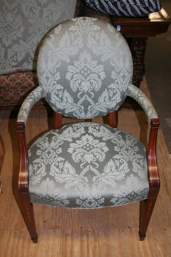 6: A Hepplewhite Style Upholstered Armchair, Height 38