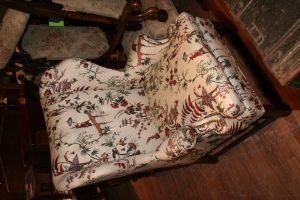 13: A Georgian Style Chinoiserie Upholstered Wingback A