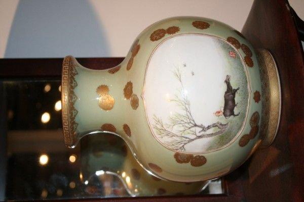 484: A Chinese Celadon Glazed and Parcel Gilt Porcelain