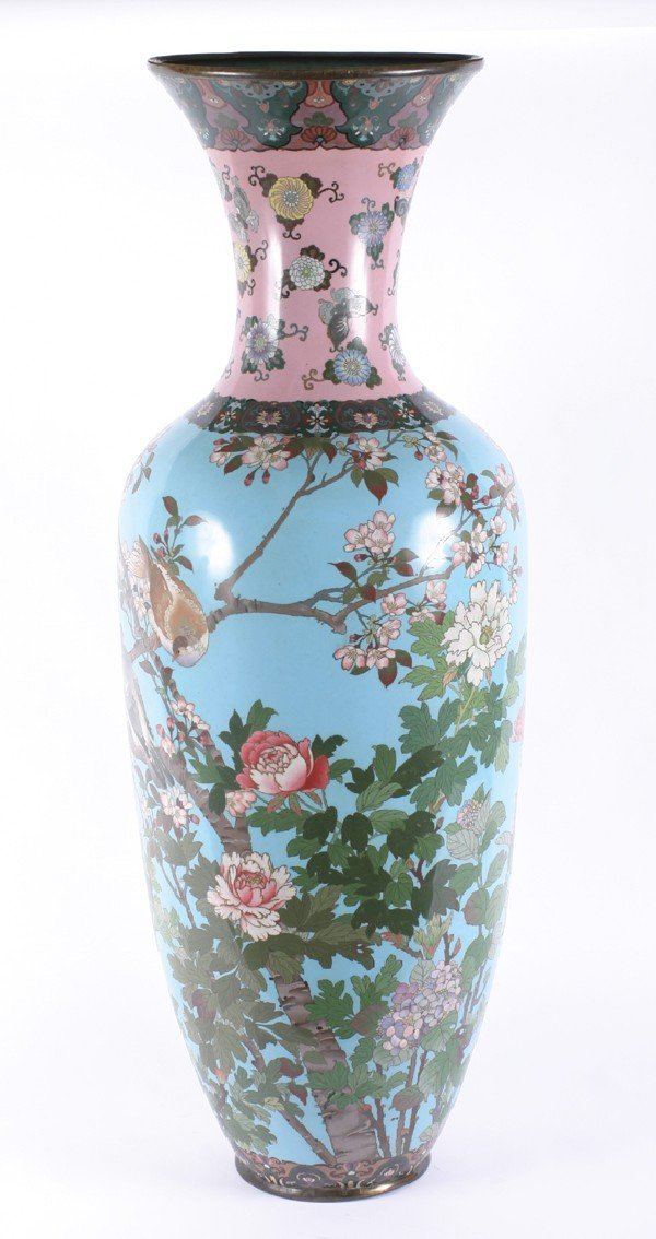 556: A Japanese Cloisonne Vase, Height 47 7/8 inches.