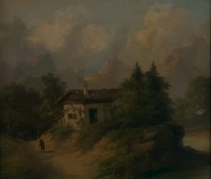 695: German School, 18th/19th century, Landscape with F