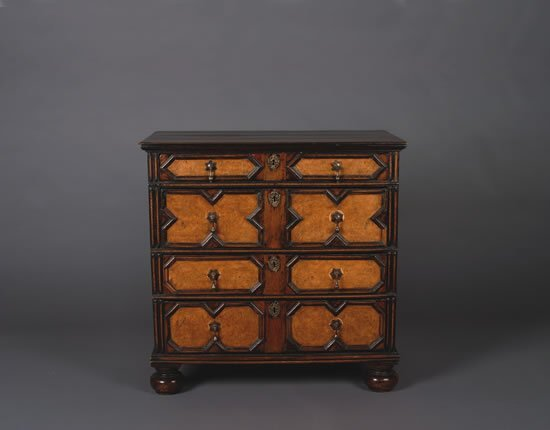 24: A William and Mary Style Oak and Burr Walnut Chest