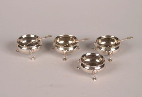 620: Four Victorian Silver Open Salts, Maker's Mark HW