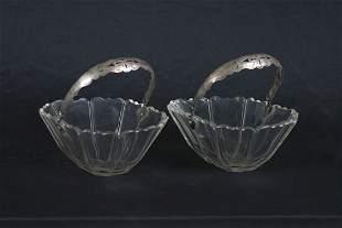 A Pair of Dutch Silver Mounted Cut Glass Baskets.