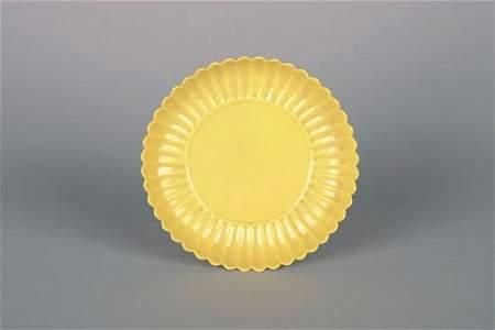 807: A Chinese Yellow-Glazed Foliate Saucer Dish,