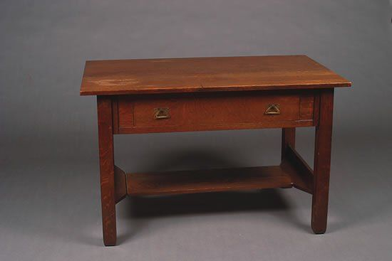 An Arts and Crafts Oak Library Table,
