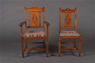 A Set of Six Stickley Brothers Oak Dining Chairs,
