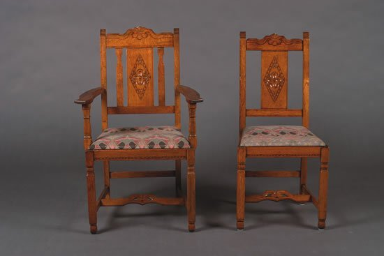 1241: A Set of Six Stickley Brothers Oak Dining Chairs,
