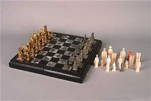 A Glazed Pottery Chess Set Attributed to Tiffany