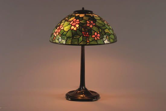 A Tiffany Studios Apple Blossom Leaded Glass and