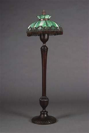 A Slag Glass Floor Lamp,