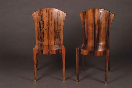 1296: A Set of Twelve Art Deco Calamander Side Chairs,
