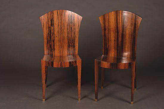 A Set of Twelve Art Deco Calamander Side Chairs,