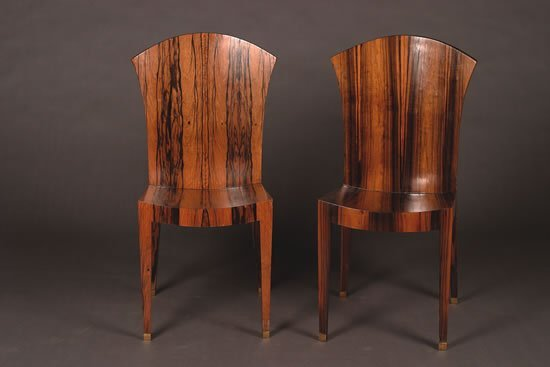 1296: A Set of Twelve Art Deco Calamander Side Chairs,