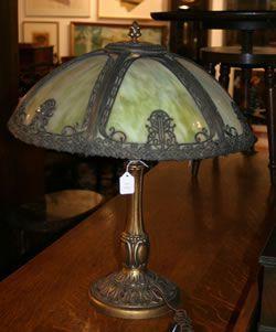 A Slag Glass Table Lamp,