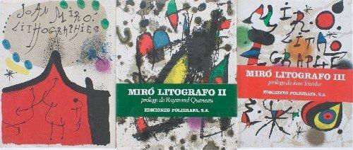 210: , , Joan Miro Lithographs (vols. I-III) 4 to. clot