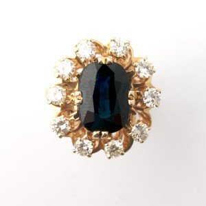 8: A 14 Karat Yellow Gold, Sapphire and Diamond Ring,