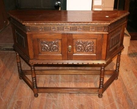 1: A Jacobean Style Carved Oak Cabinet, Height 32 inche