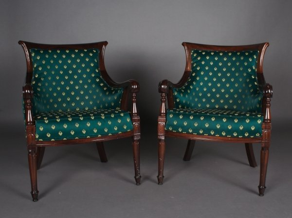 11: A Pair of Regency Style Barrel Back Arm Chairs, Hei
