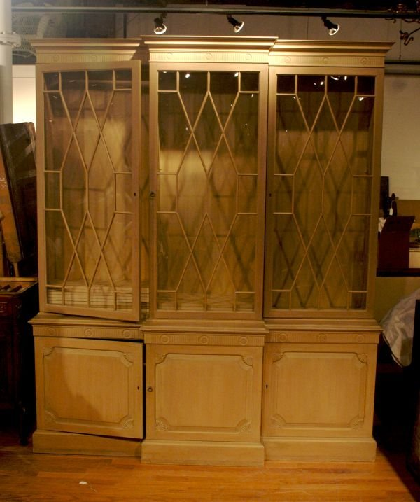 18: A Painted Neoclassical Style Breakfront Bookcase, H