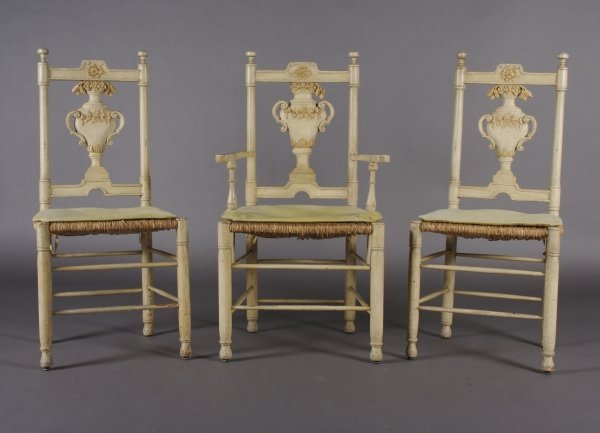 19: A Set of Seven Neoclassical Style Painted Side Chai