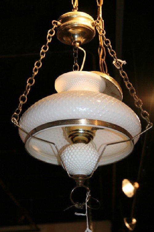 489: A Victorian Milk Glass Hobnail Fixture. Diameter 1