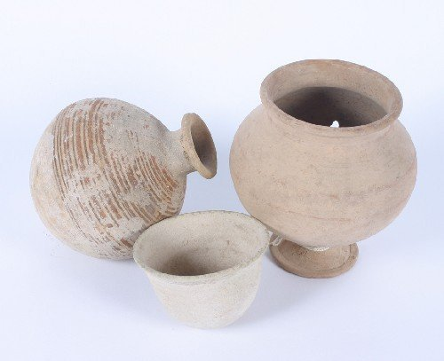 491: A Collection of Unglazed Terra Cotta Vessels, Heig