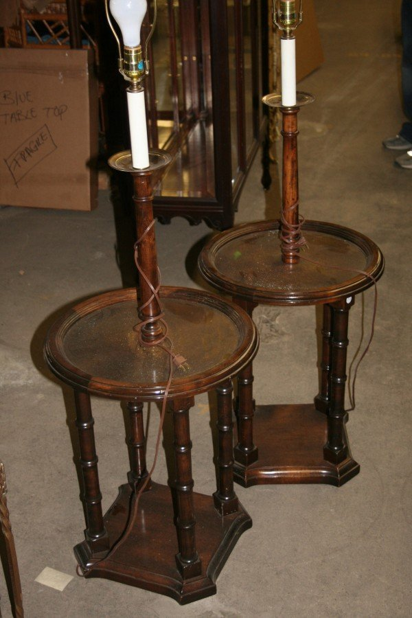 495: Two Georgian Style Faux Bamboo Lamp Tables. Height