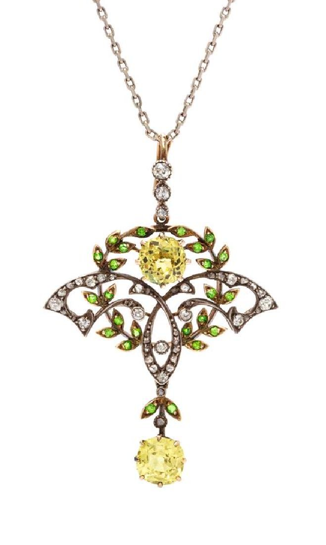 * A Silver Topped Gold, Yellow Sapphire, Demantoid