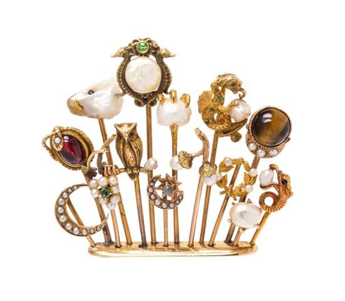 A 14 Karat Yellow Gold and Multigem Stickpin Cluster