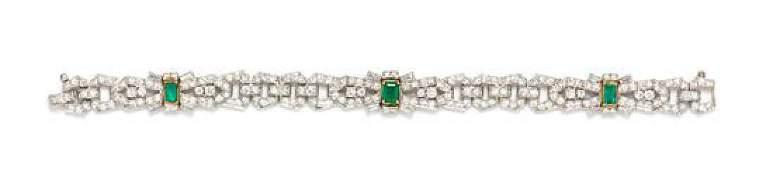 A Platinum Emerald and Diamond Bracelet