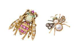 A Collection of 14 Karat Yellow Gold and Multigem Bug