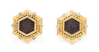 A Pair of 18 Karat Yellow Gold, Diamond and Ancient