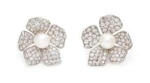 A Pair of Platinum Diamond and Cultured Pearl Floral