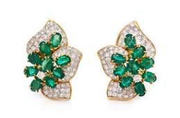 A Pair of 18 Karat Yellow Gold, Emerald and Diamond