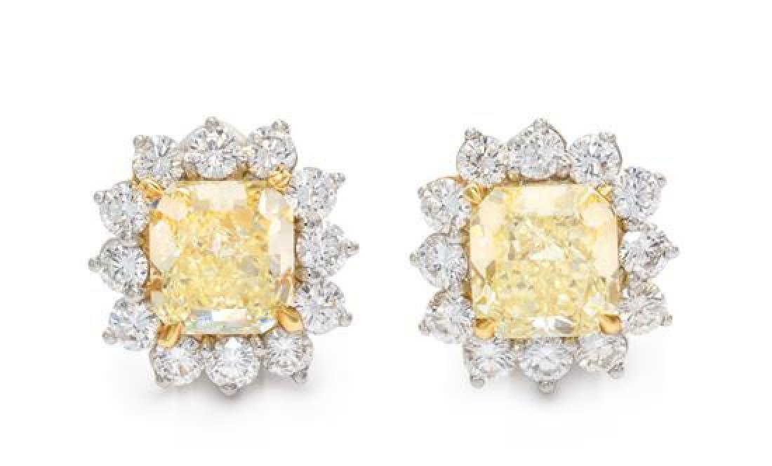 A Pair of Platinum, Yellow Gold, Fancy Yellow Diamond