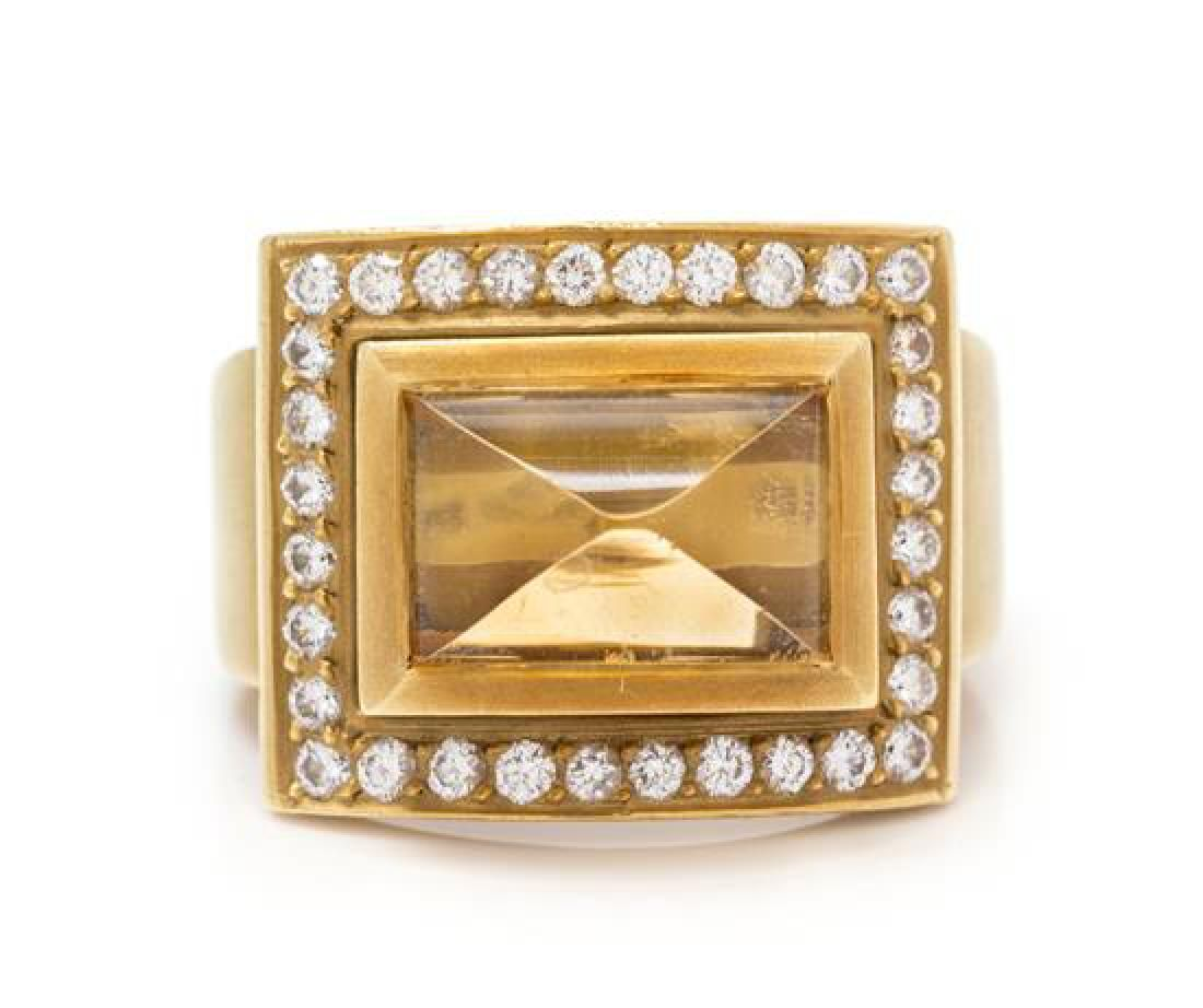 * An 18 Karat Yellow Gold, Citrine and Diamond Ring,