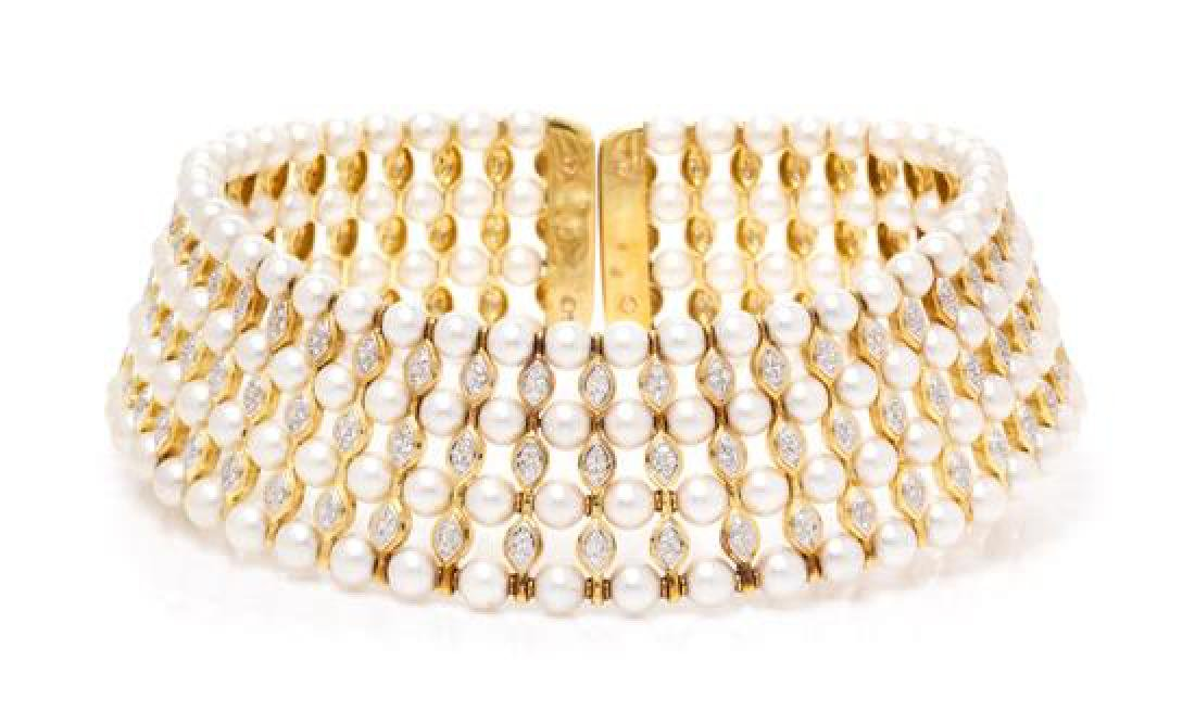 An 18 Karat Yellow Gold, Cultured Pearl and Diamond