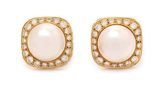 * A Pair of 18 Karat Yellow Gold, Cultured Mabe Pearl