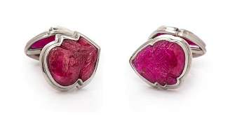 A Pair of Platinum White Gold and Carved Ruby